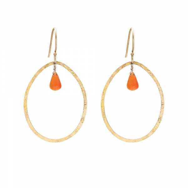 Ellipse Carnelian Gold Earrings
