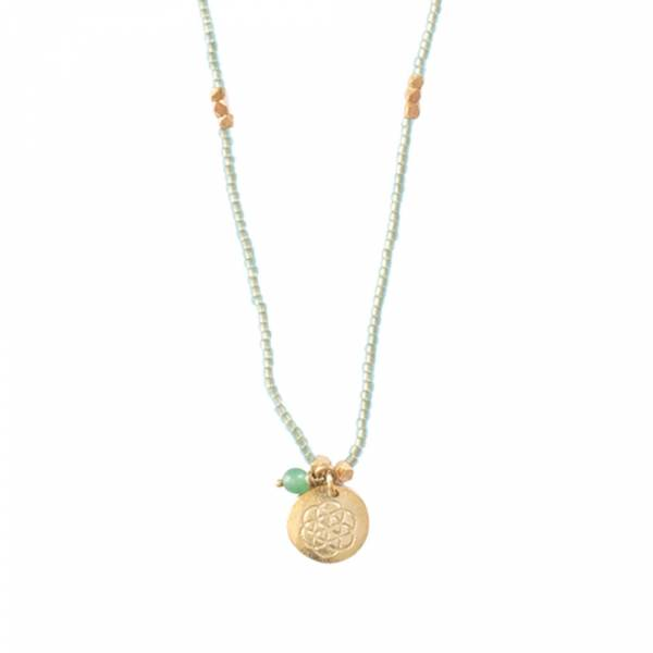 Truly Aventurine Flower of Life Gold Necklace