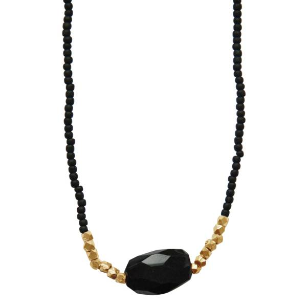 Joy Black Onyx gold necklace