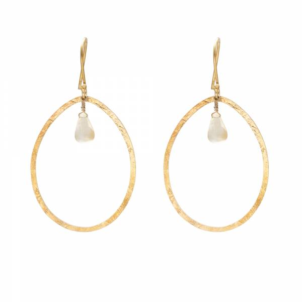 Ellipse Citrine Gold Earrings