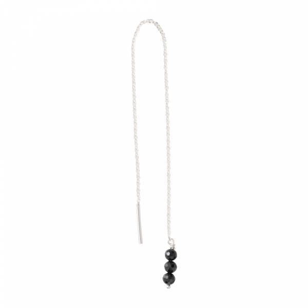 Simple Schwarzer Onyx Sterlingsilber Ohrring