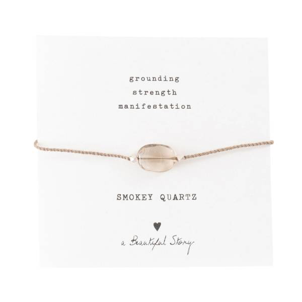 Gemstone Card Smokey Quartz Silver Bracelet