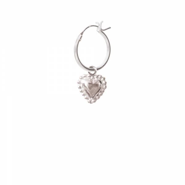 Heart Silver Hoop Earring
