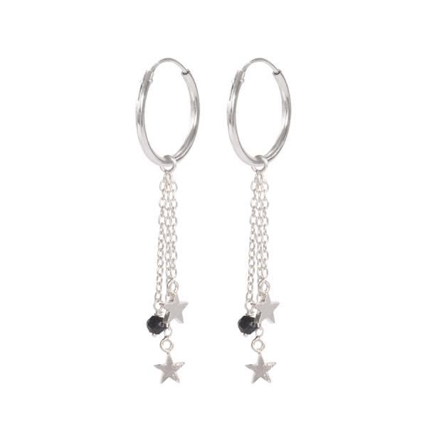 Sterne Schwarzen Onyx Ohrringe Sterlingsilber