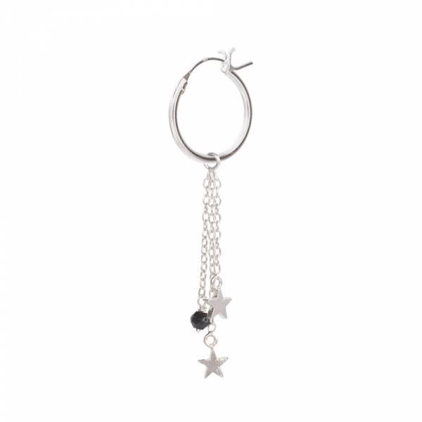 Stars Black Onyx Sterling Silver Hoop Earring