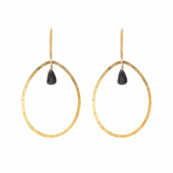 Ellipse Black Onyx Gold Earrings