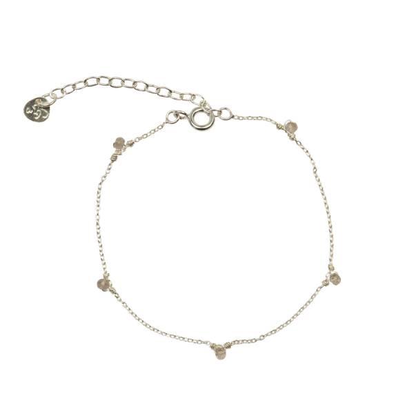 True Rozenkwarts zilver armband