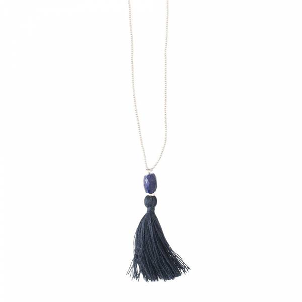Happy Lapis Lazuli Silver Necklace