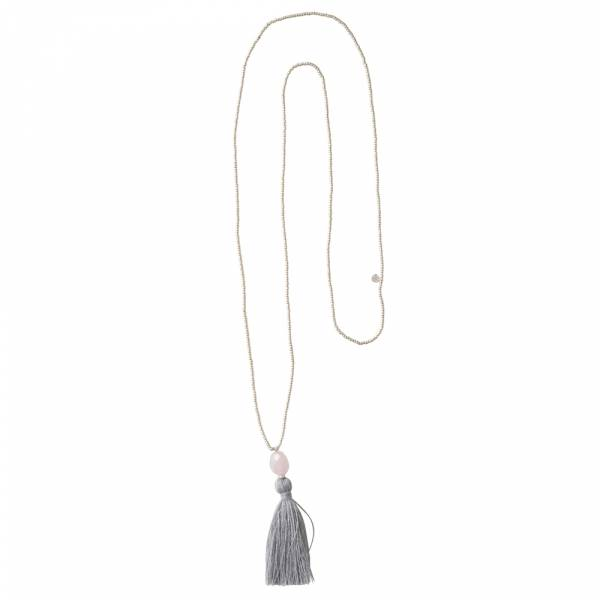 Happy Rosenquarz Silber Halskette