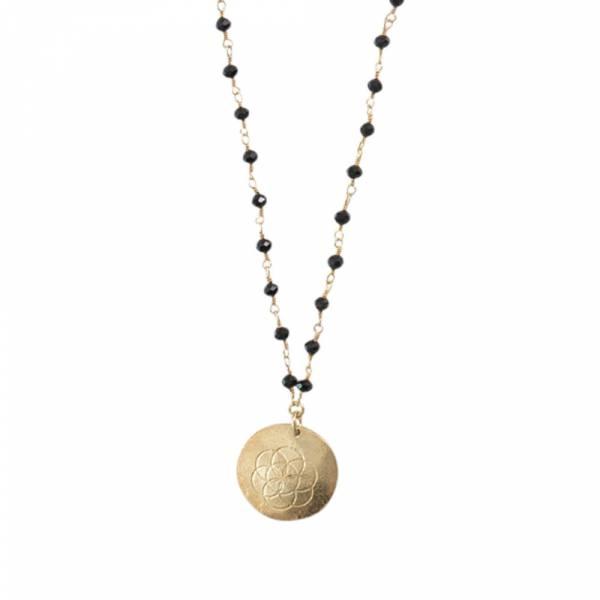 Rosary Zwarte Onyx Bloem van het Leven Goud Ketting