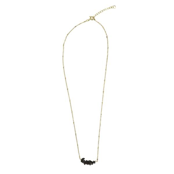 Shine Black Onyx gold necklace