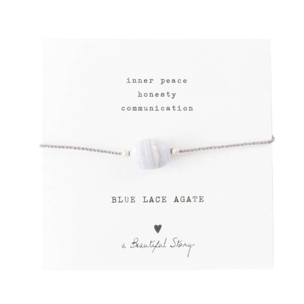 Gemstone Card Blue Lace Agate Silver Bracelet