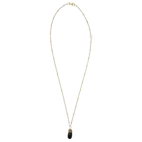 Luna Zwarte Onyx goud ketting