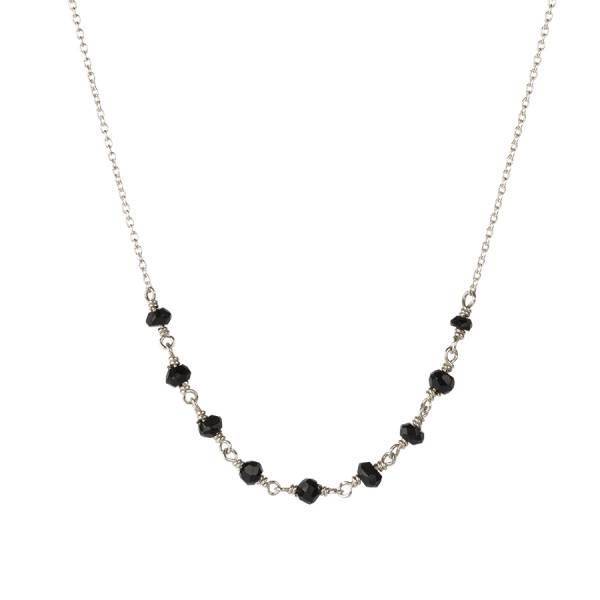Tiny Black Onyx sterling silver necklace