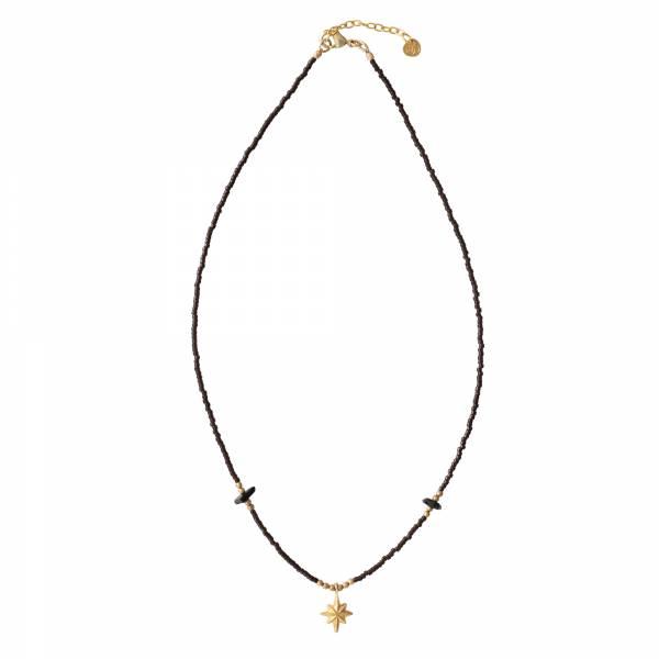 Wildflower Black Onlyx Gold necklace