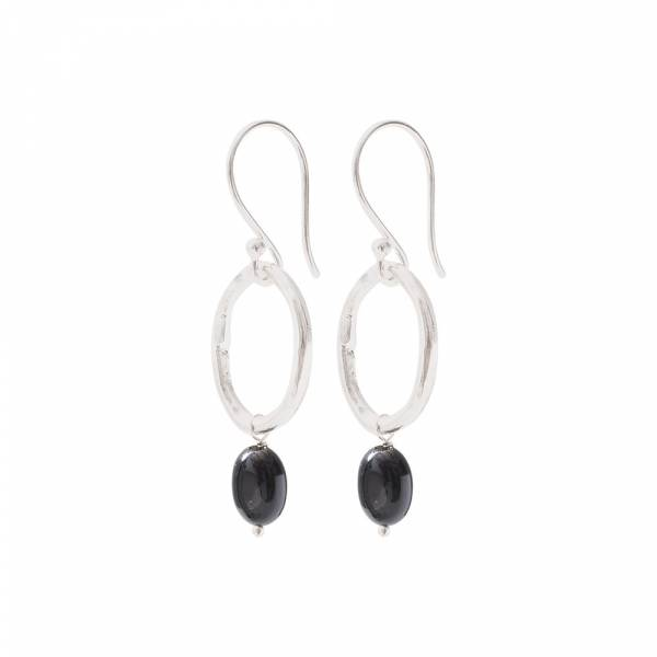 Graceful Black Onyx Silver Earrings
