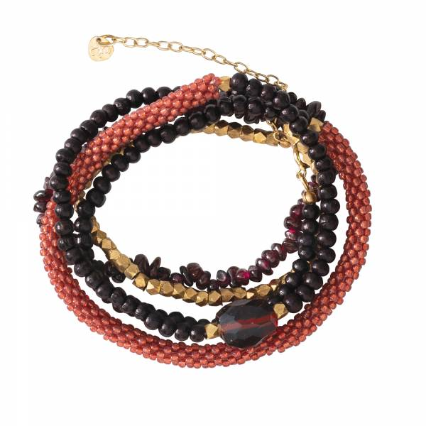 Superwrap Garnet Gold Bracelet