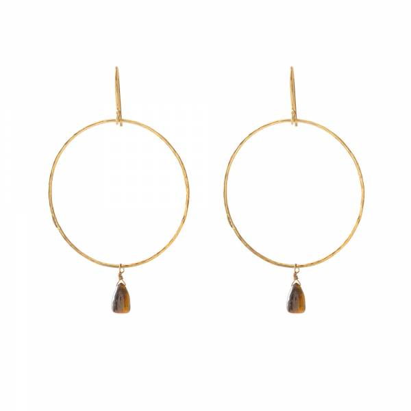 Embrace Tiger Eye Gold Earrings