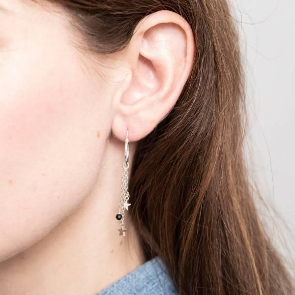 Black Onyx Stars Mixed Earrings Sterling Silver