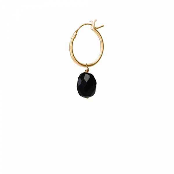 Black Onyx Sterling Silver Gold-Plated Hoop Earring
