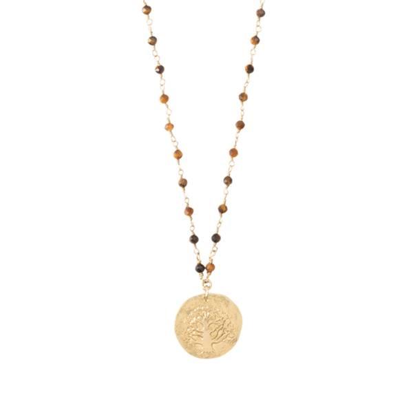 Rosary Tigerauge Baum Goldhalskette
