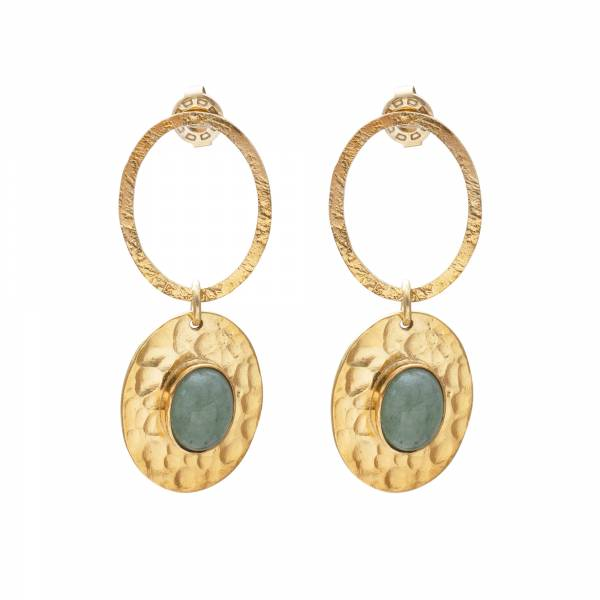 Thankful Aventurine Gold Earrings