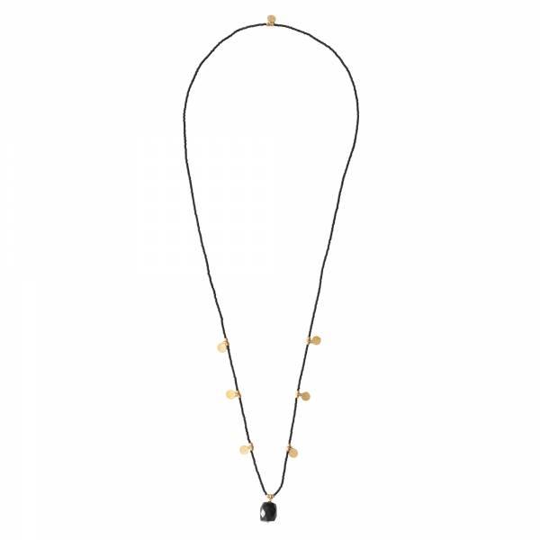 Charming Schwarzer Onyx Gold Halskette