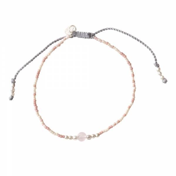 Iris Rozenkwarts Zilver Armband