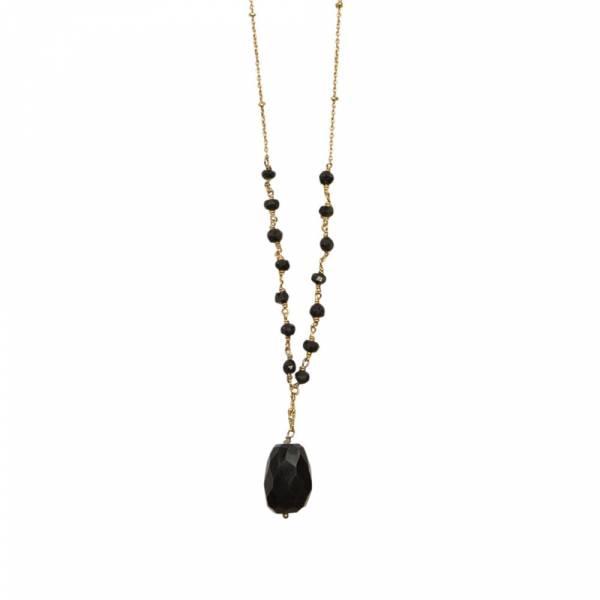 Festive Zwarte Onyx goud ketting