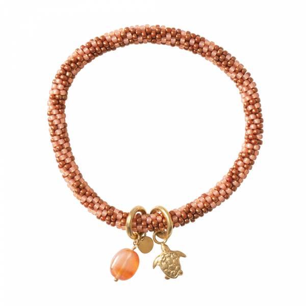 Jacky Multi Color Karneol Gold Armband