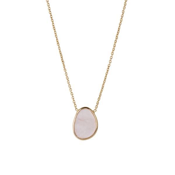 Tender Rose Quartz Sterling Silver Gold-Plated Necklace