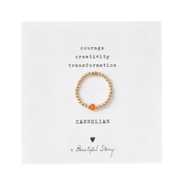 Sparkle Carnelian Gold Ring S/M
