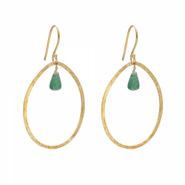 Ellipse Aventurine Gold Earrings