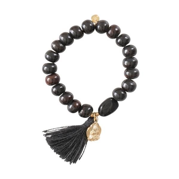 Satya Schwarzer Onyx Buddha Gold Armband