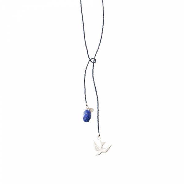 Nova Lapislazuli Schwalbe Silber Halskette