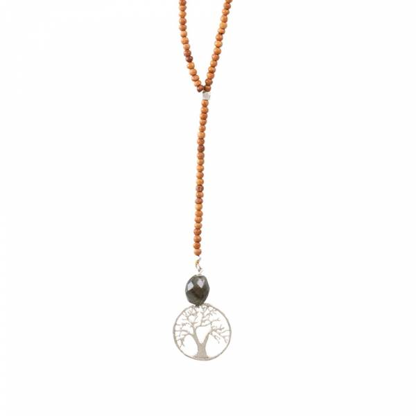 Namaste Labradorit Baum Silber Halskette