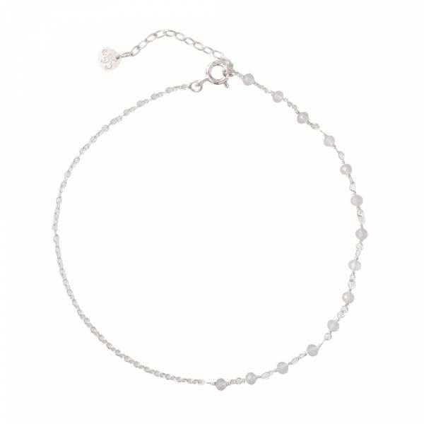Shimmer Rose Quartz Sterling Silver Anklet