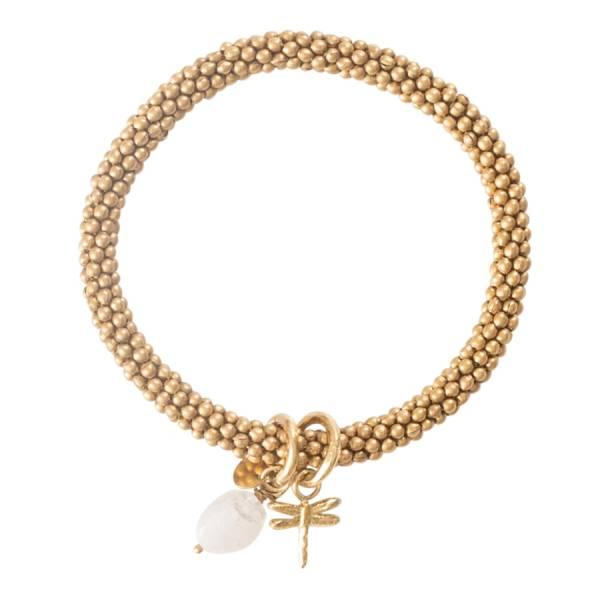 Jacky Moonstone Dragonfly Gold Bracelet
