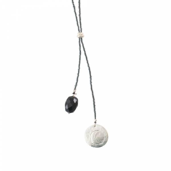 Fairy Black Onyx Moon SIlver Necklace