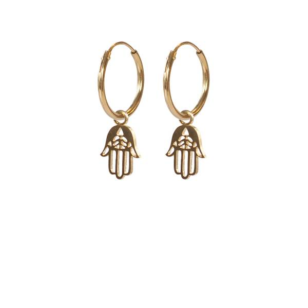 Hamsa Hand Earrings Sterling Silver Gold-Plated