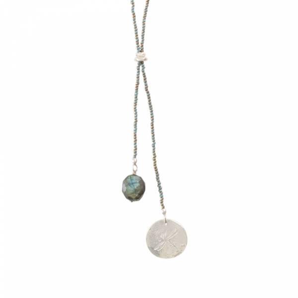 Fairy Labradorit Libelle Silber Halskette