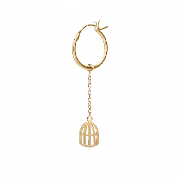 Birdcage Sterling Silver Gold-Plated Hoop Earring
