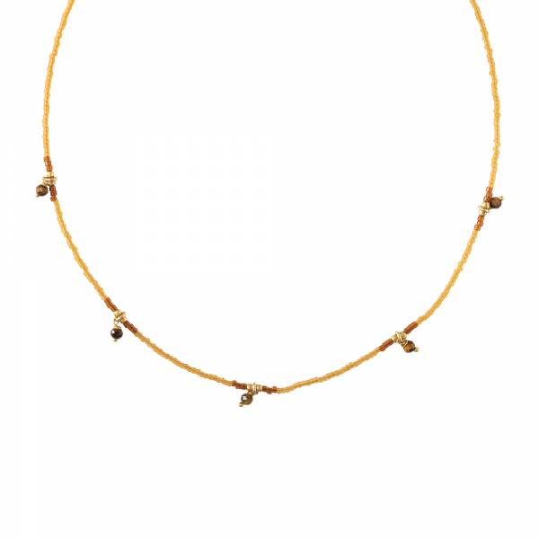 Cocoon Tiger Eye Gold Necklace