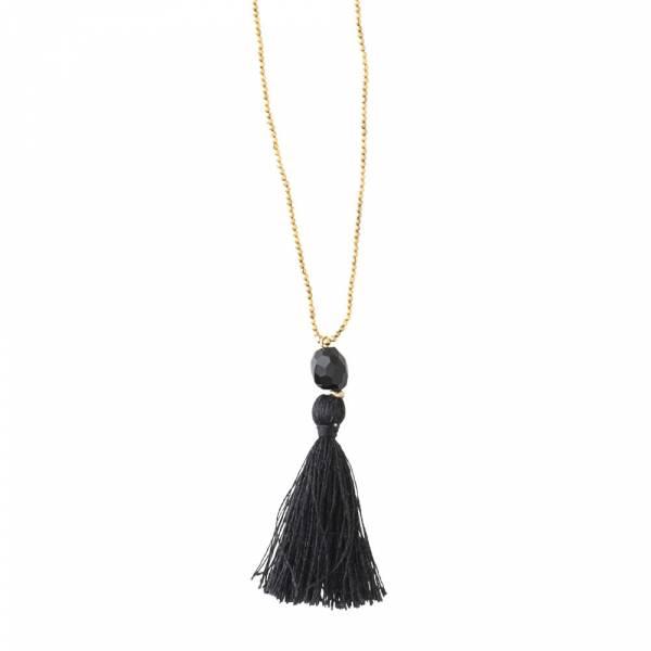 Happy Black Onyx Gold Necklace