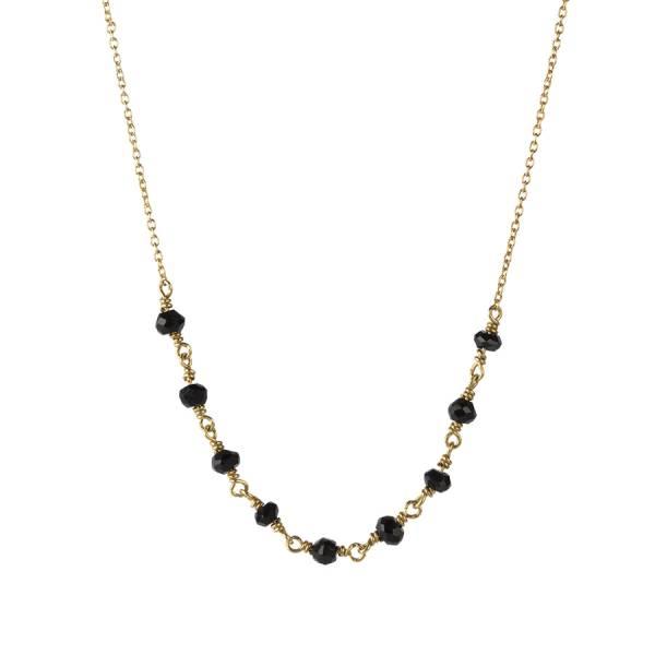 Tiny Schwarzen Onyx Sterlingsilber vergoldete Halskette