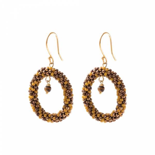 Faith Tiger Eye Gold Earrings