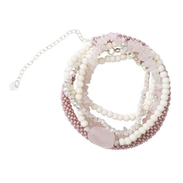 Superwrap Rose Quartz Silver Bracelet