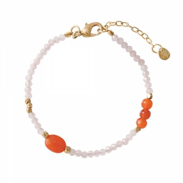 Sweet Rosenquarz Karneol Gold Armband