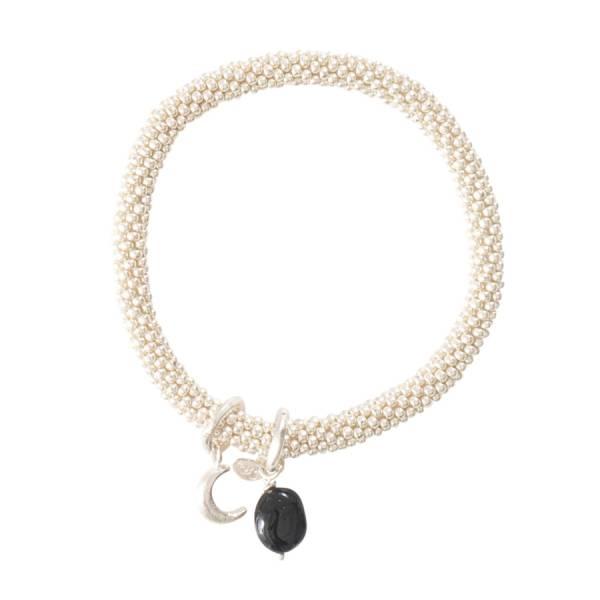Jacky Schwarzer Onyx Mond Silber Armband