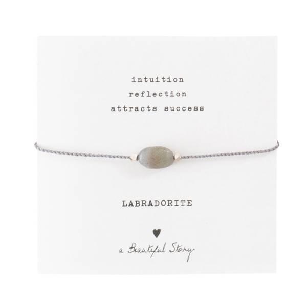 Gemstone Card Labradorite Silver Bracelet